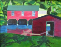 Boat Houses, view from Twin Oaks Point - Acrylic